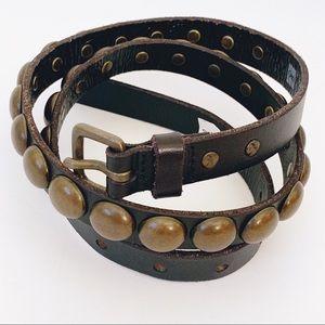 Gap Leather Brass Studded Rivets Skinny Belt